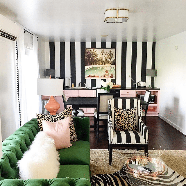pink and green is always a good idea especially when mixed with black and white stripes pom pom trim leopard print zebra and slim aarons - Pink Home 2015