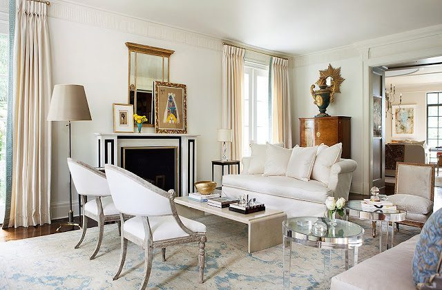 Lucite tables, antique Swedish chairs, and a French Moderne-style coffee  table form an asymmetrical yet balanced arrangement in the ... - Suzanne Kasler's Atlanta Home