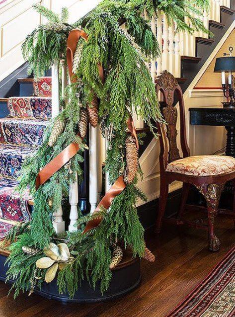 Christmas with suzanne rheinstein for Fresh garland on banister