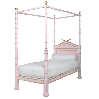 Marvelous Twin Size Bamboo Bed Blue and Gold Gilding u Retail SALE