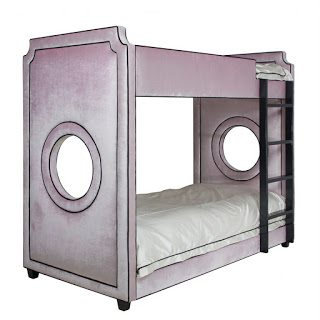 Beautiful Gramercy Porthole Bunk Bed Majestic Lilac Fabric with Black Piping Twin u Retail SALE