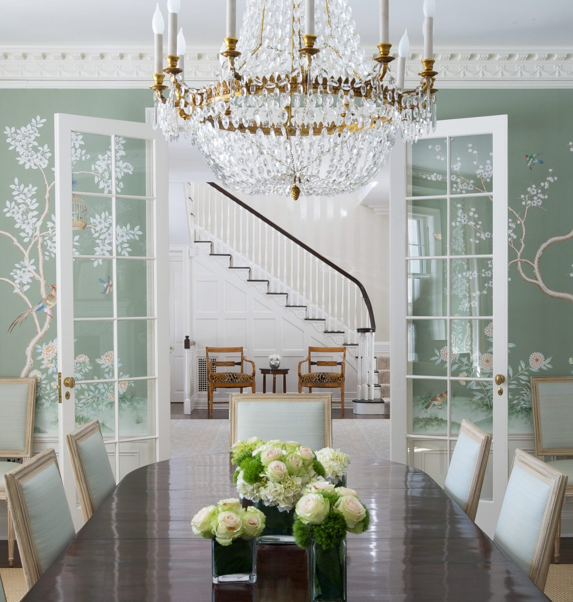 Crystal Chandelier Chinoiserie Wallpaper Gracie Handpainted