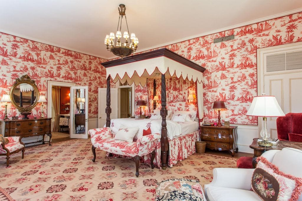 Red Toile Bedroom Canopy Bed