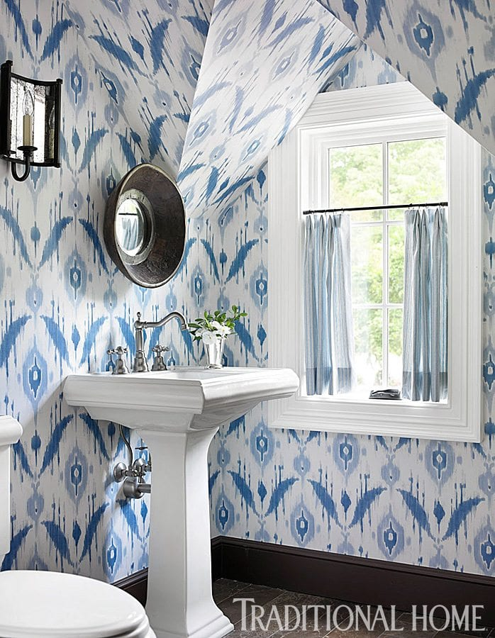 Thibaut Ikat Blue And White Wallpaper Bathroom Pedestal Sink