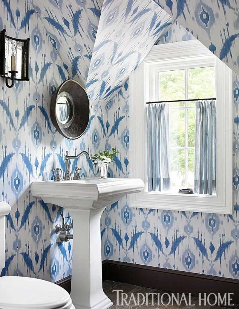 Sentimental charm in atlanta the glam pad for Blue bathroom wallpaper