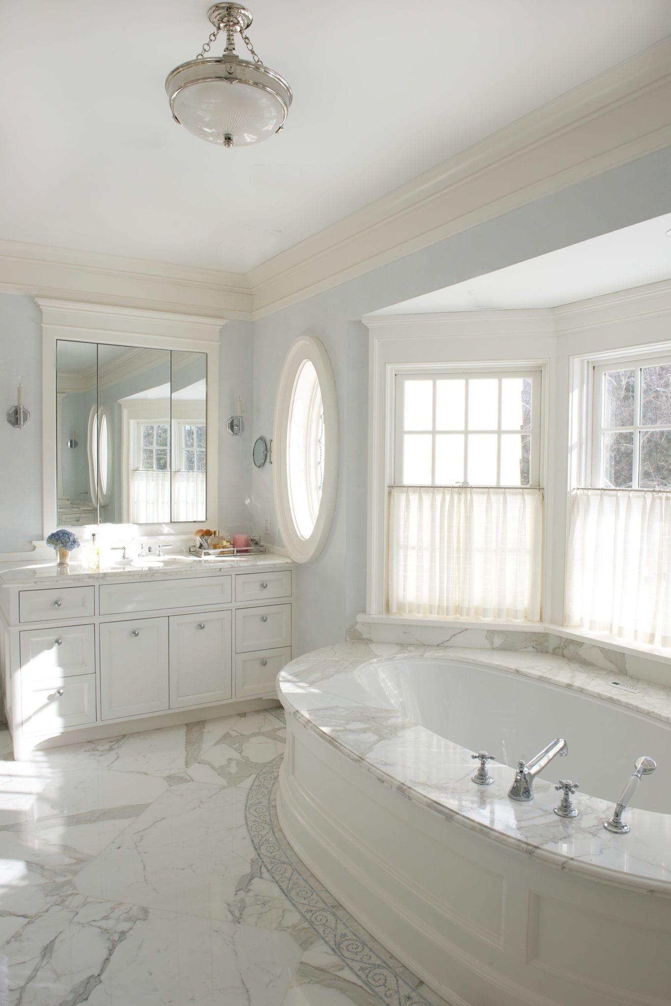 white-marble-master-bathroom-garden-tub - The Glam Pad
