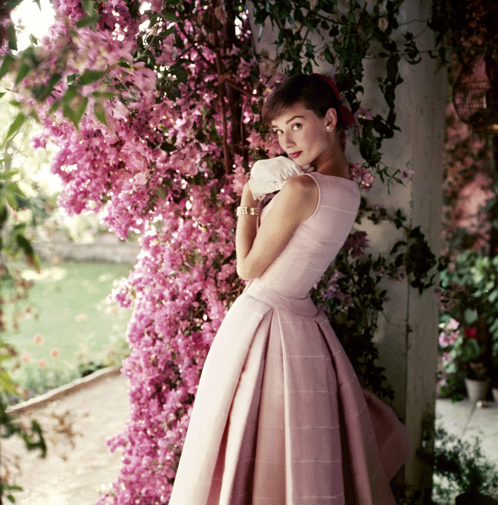 2 Audrey Hepburn Pink Dress Flowers The Glam Pad