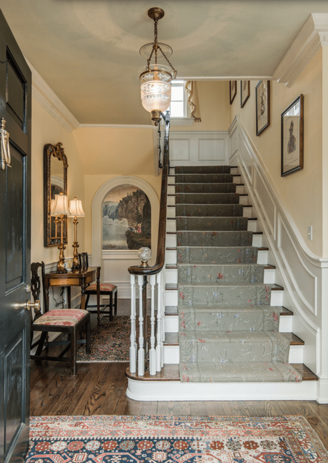 elegant-entryway-staircase-stairs-center-hall-colonial ...