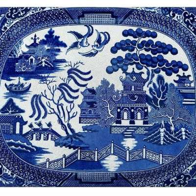 Blue Willow Glass Cutting Board