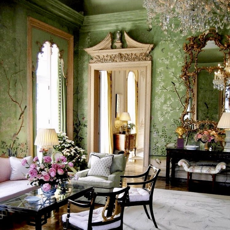 Barbara Hutton Winfield House Gracie Antique Wallpaper Celedon The