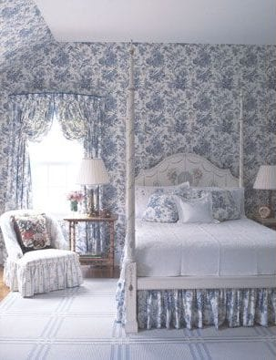 blue-toile-bedroom - The Glam Pad