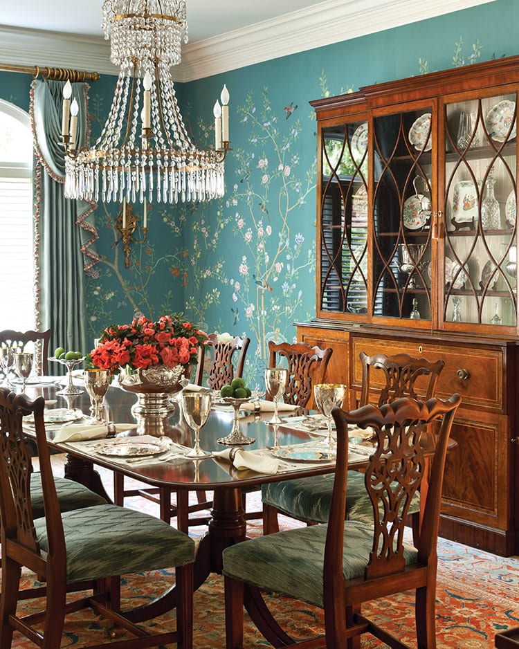 De Gournay Hand Painted Chinoiserie Wallpaper Traditional Dining Room  Chippendale Chairs Persian Rug