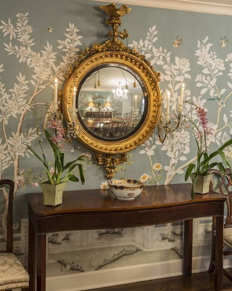 gracie-wallpaper-hand-painted-chinoiserie-dining-room-federal-convex-mirror