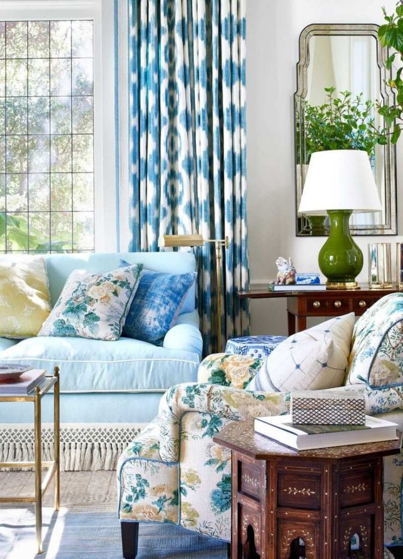 mark-d-sikes-montecito-chintz-althea-hollyhock-jee-jofa-ikat-tassel-trim-sofa