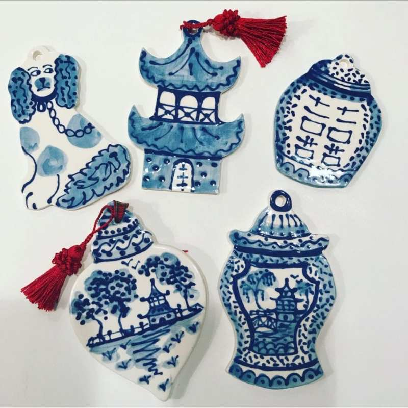 staffordshire-dog-ornament-christmas-holiday-blue-white-ginger-jar-pagoda-chinoiserie
