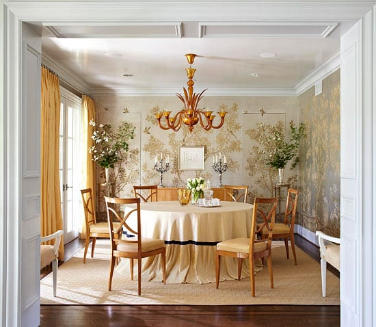 Jan Showers Highland Park Dallas  Texas Gracie Chinoiserie Wallpaper Murano Chandelier Hand Painted Dining Room Round Table Jib Doors
