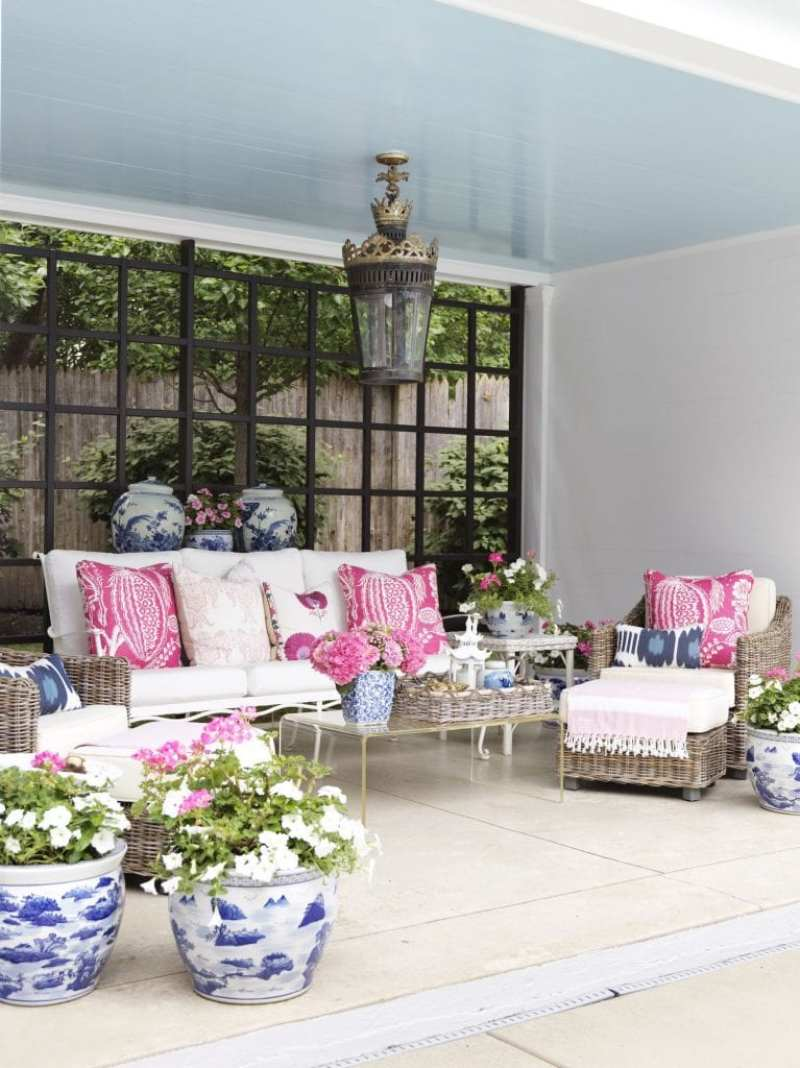pool-house-haint-blue-ceiling-blue-white-planters-chaise-lantern-cb2-coffee-table-madeline-weinrib-manuel-canovas-fabric-pillows