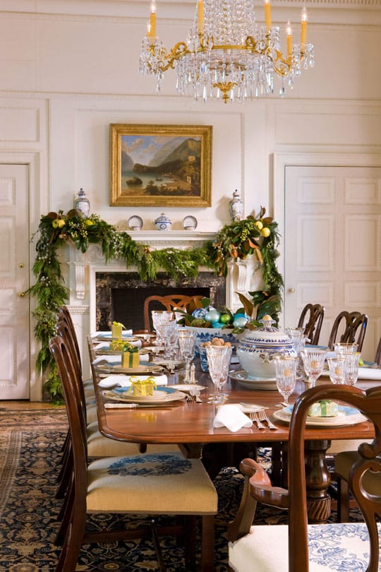 Blair House Traditional Home Dining Room Tablescape Crystal China Fireplace Mantel Decor Barry Dixon The Glam Pad