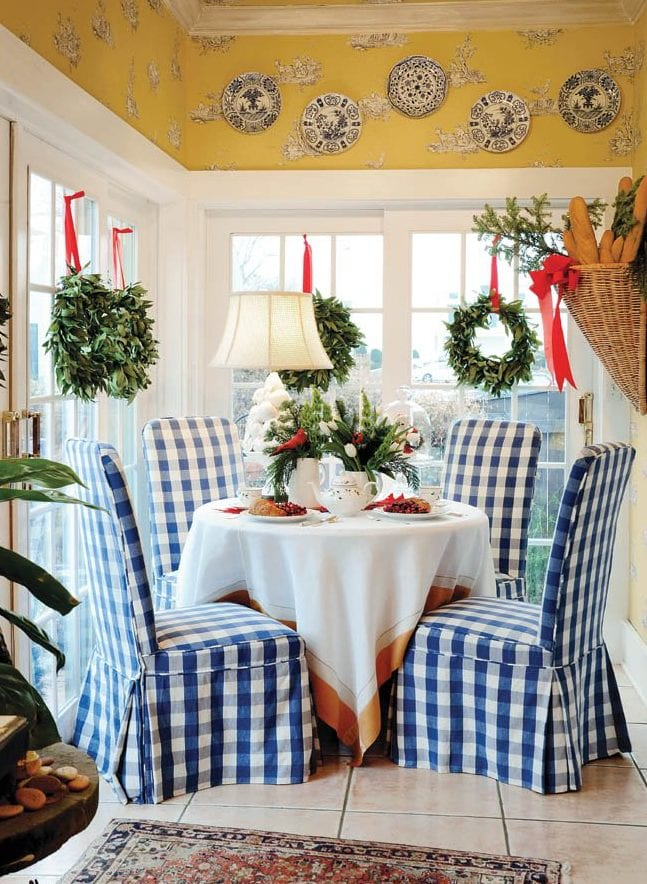 french-country-kitchen-breakfast-nook-blue-white-buffalo ...