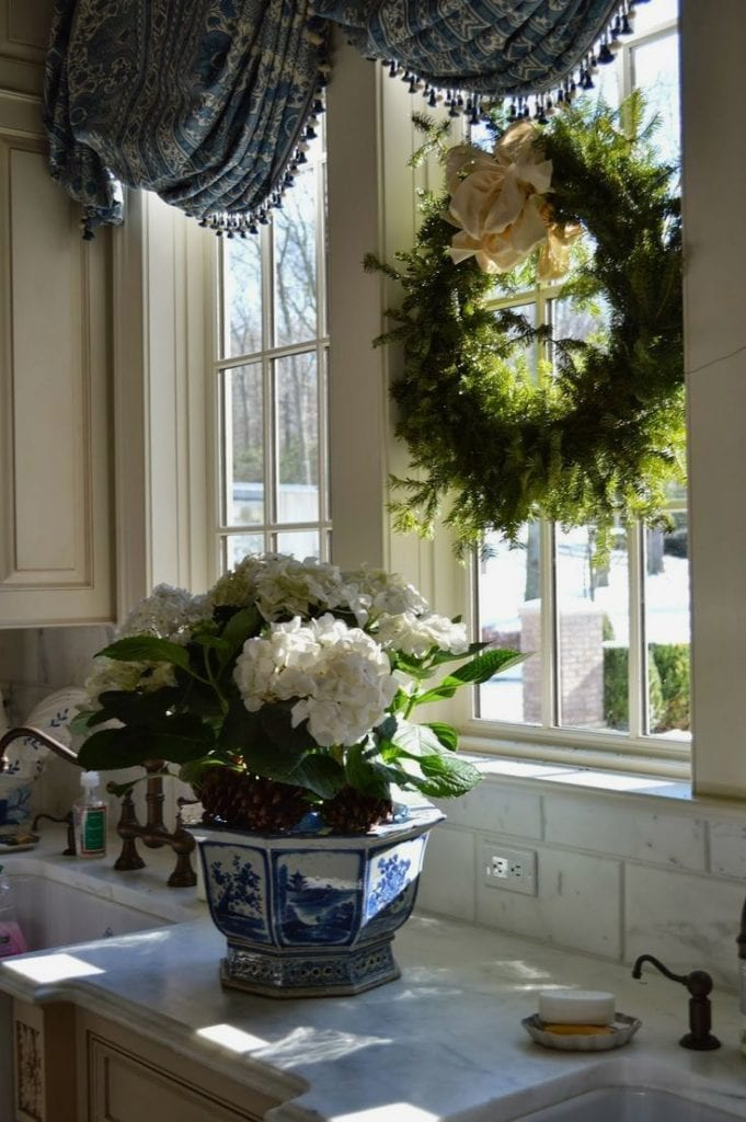 The Enchanted Home Blog Blue White Chinoiserie Planter Greenery