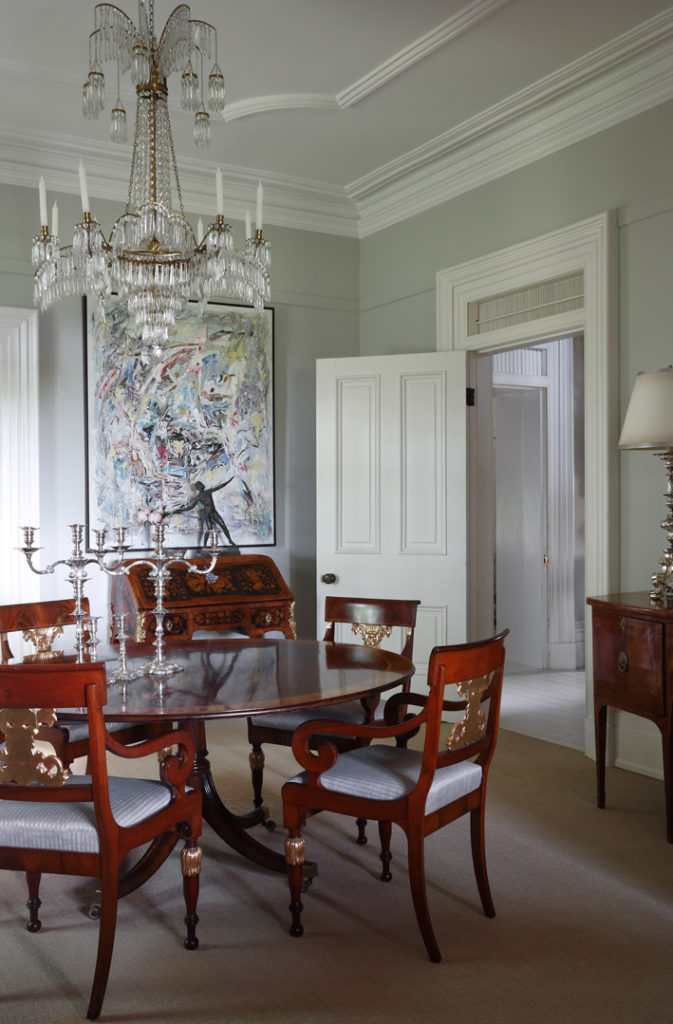 Dining Room Crystal Chandelier Empire Antiques Abstract Art