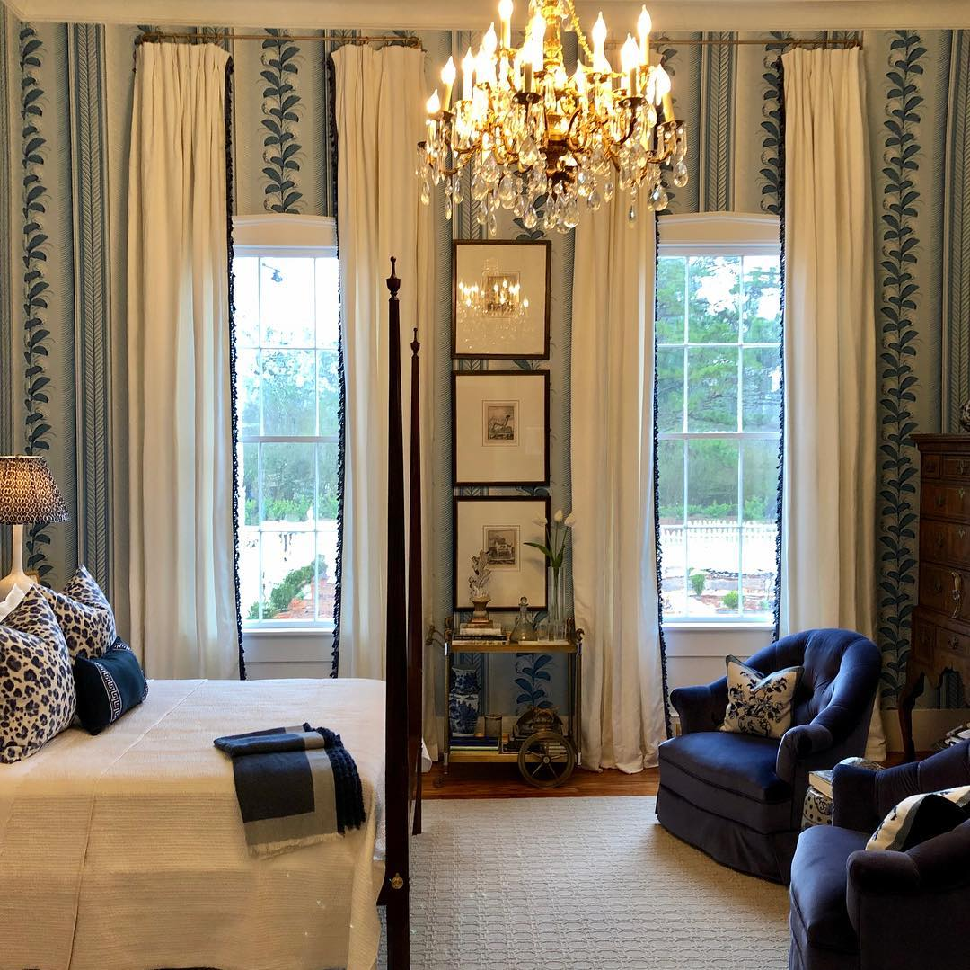 Bedroom Curtains Quadrille Climbing Hydrangea Wallpaper