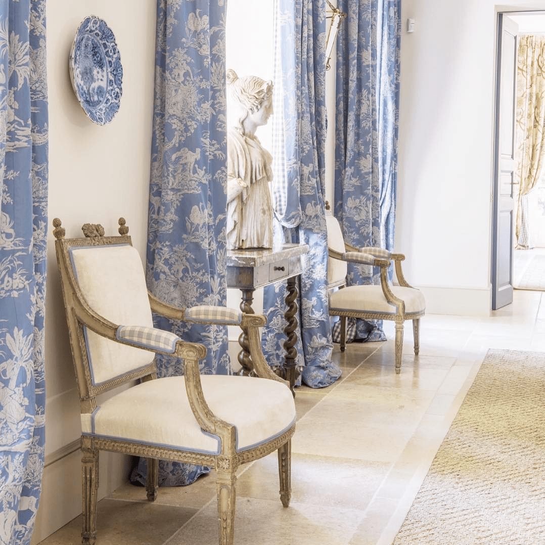 Swell Blue And White Toile Curtains The Glam Pad Machost Co Dining Chair Design Ideas Machostcouk