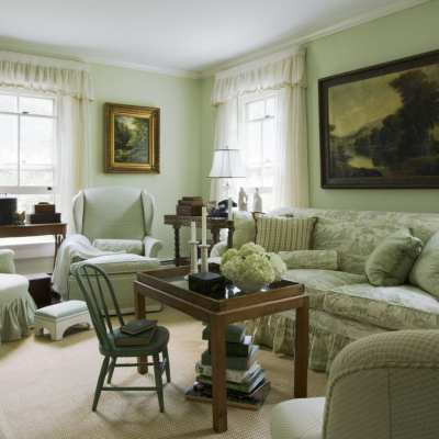 A Charming Green Monochromatic Cottage