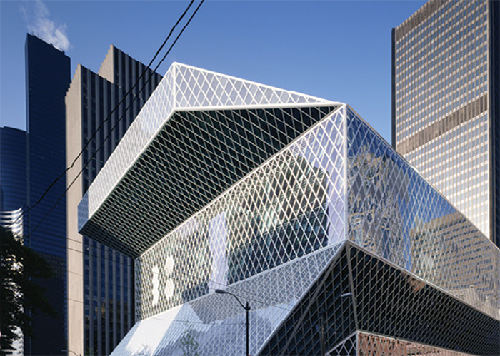 Seattle Central Library, USA. DEsign by OMA & LMN Architects. Structure by Cecil Balmond - Arup, 1999 - 2004. Photograph courtesy of Arup
