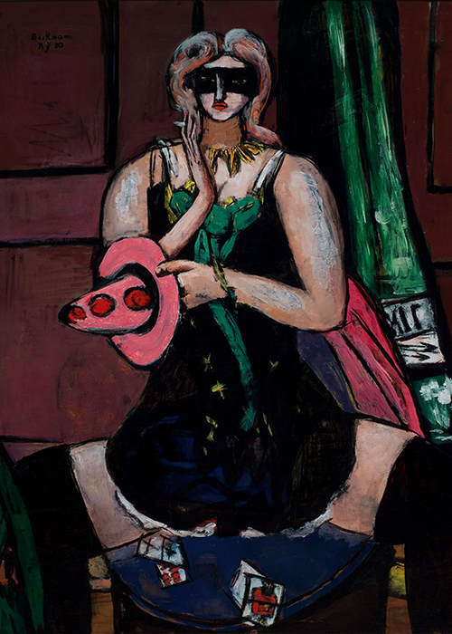 Max Beckman in New York Carnival Mask Green Violet and Pink Columbine Saint Louis Art Museum
