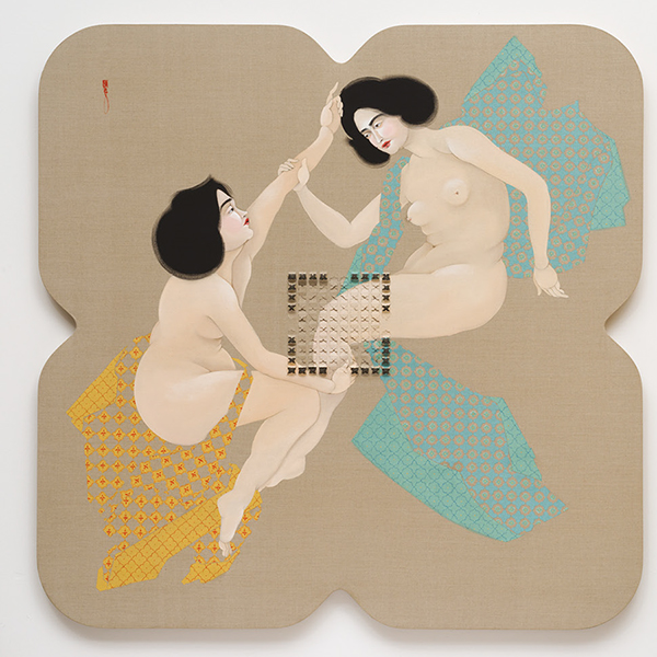Story picture LRAD.1, 2016 , oil on linen and acoustic foam, 64 x 64 inches Hayv Kahraman