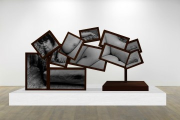 Benefit Supervisor Sleeping, 2017, corten steel, LCD screens, moving image, 132 x 265 x 80 cm by Charlotte Colbert