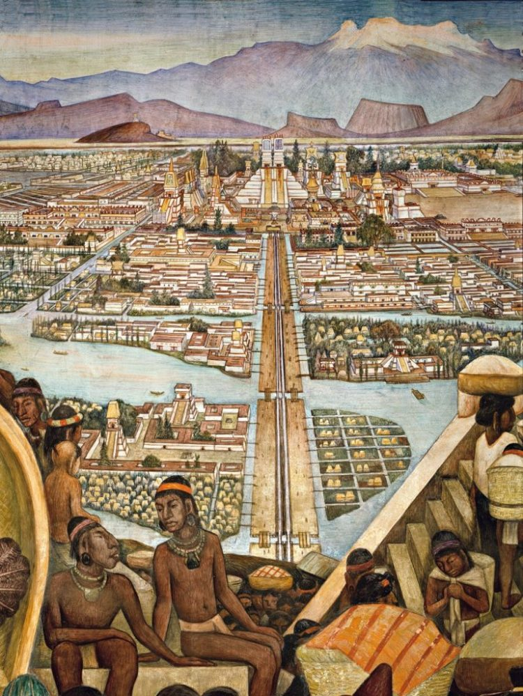 The Great City of Tenochtitlán (detail), 1945, Patio corridor of the Palacio Nacional, Mexico City