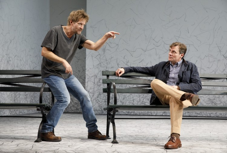 (l-r) Paul Sparks & Robert Sean Leonard in Edward Albee's At Home at the Zoo - Homelife & The Zoo Story at Signature Theatre