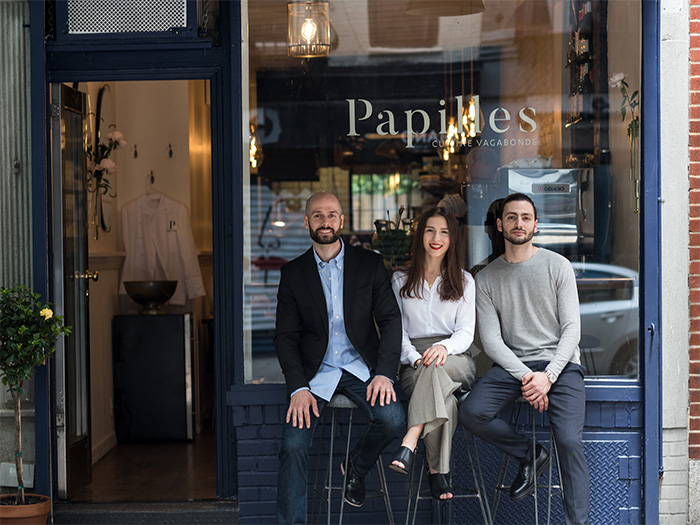 The Papilles team - Nicolas Thoni, Elena Oliver and Chef Andrea Calstier