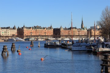 Tourist boats lie dormant around Stockholm's waterways until spring returns