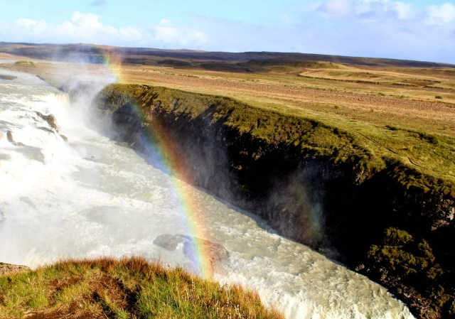Rainbow over Gullfoss waterfall, Iceland