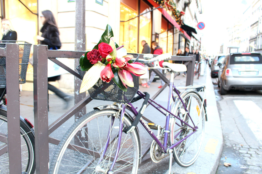 Christmas 2015, flowers in a bike basket, Christmas in Paris, The Glittering Unknown