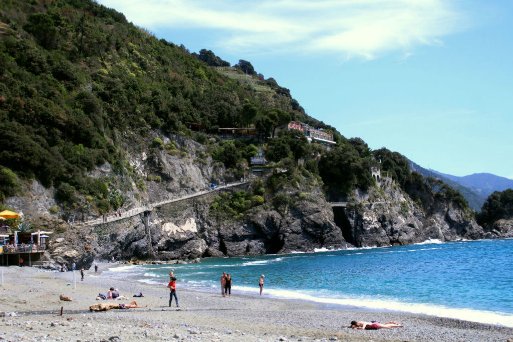 View of Sentiero Azzurro from beach Monterosso al Mare Cinque Terre Italy, Monterosso to Vernazza, The Glittering Unknown