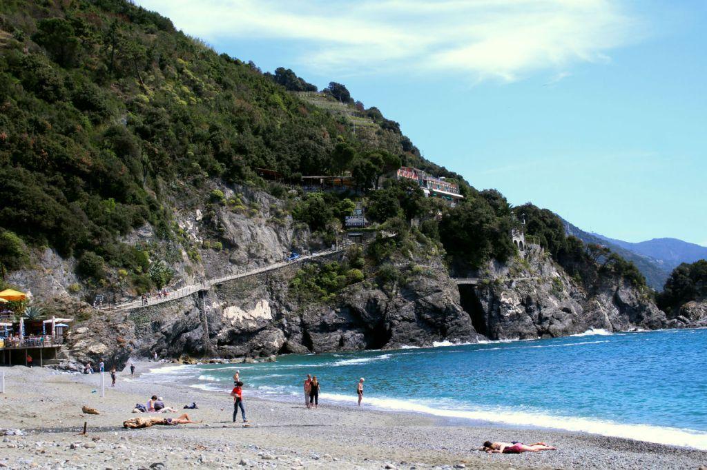 View of Sentiero Azzurro from beach Monterosso al Mare Cinque Terre Italy, Monterosso to Vernazza, The Glittering Unknown