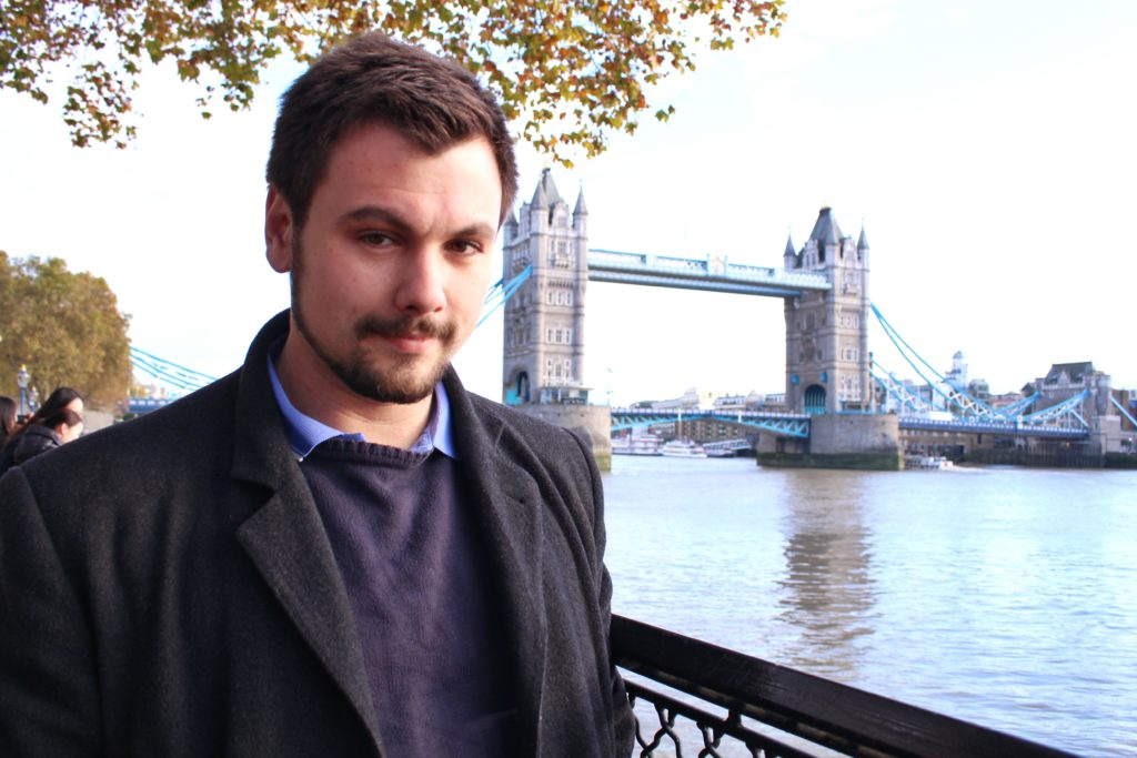 Didier at Tower Bridge, Day Trip London Paris
