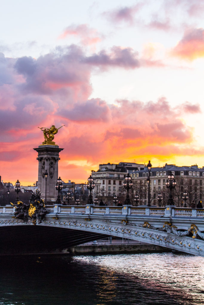 Sunset over Pont Alexandre III- 5 Best Sunset Spots in Paris