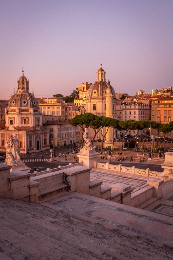 Pink hour over Foro Traiano, Piazza Venezia, Rome- - PHOTO DIARIES: ROME