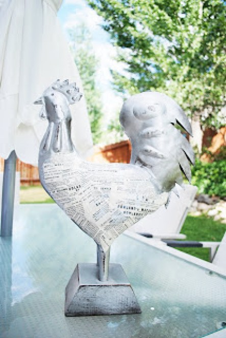 book paper chicken, how to decoupage, pottery barn knock off