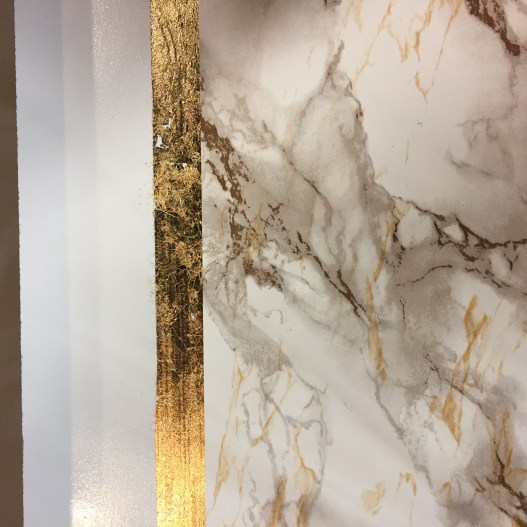 gold leafing, marble sofa table