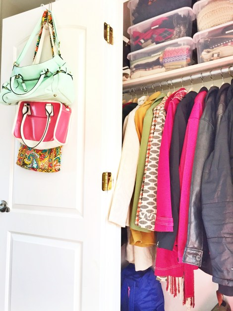 organizing your coat closet, what bins you need for organzing your closets and what to keep in the front closet