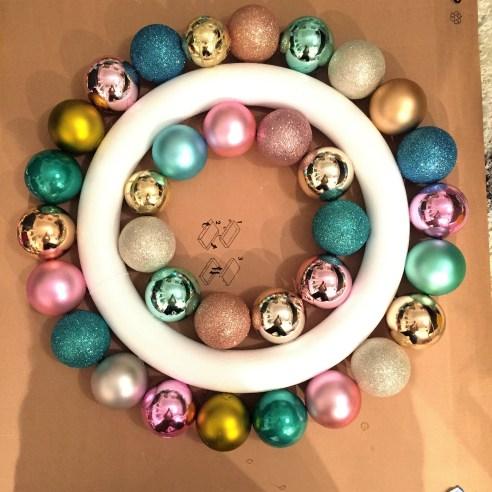 ornament wreath, plastic ornaments, pastel ornament wreath, how to make an ornament wreath, diy, crafts, Christmas crafts, studio 5,