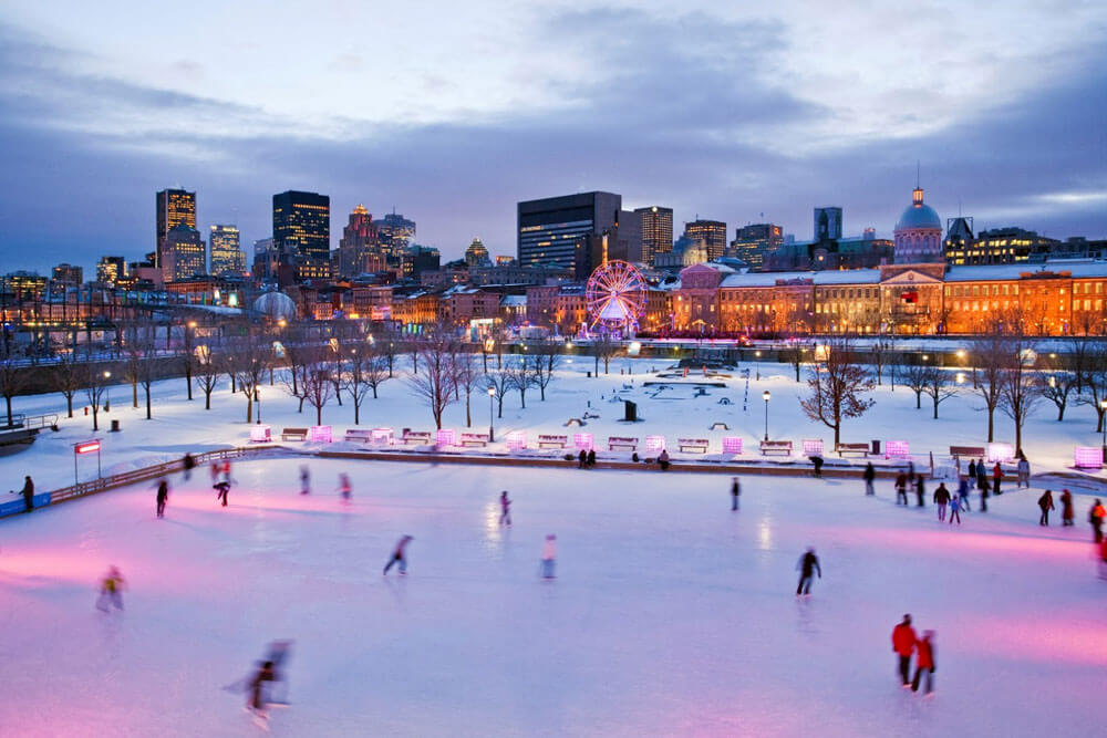 Ice Skating at the Old Port in Montreal