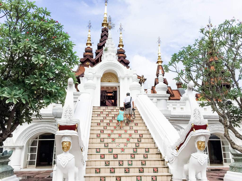 Steps up to Dhara Dhevi in Chiang Mai, Thailand