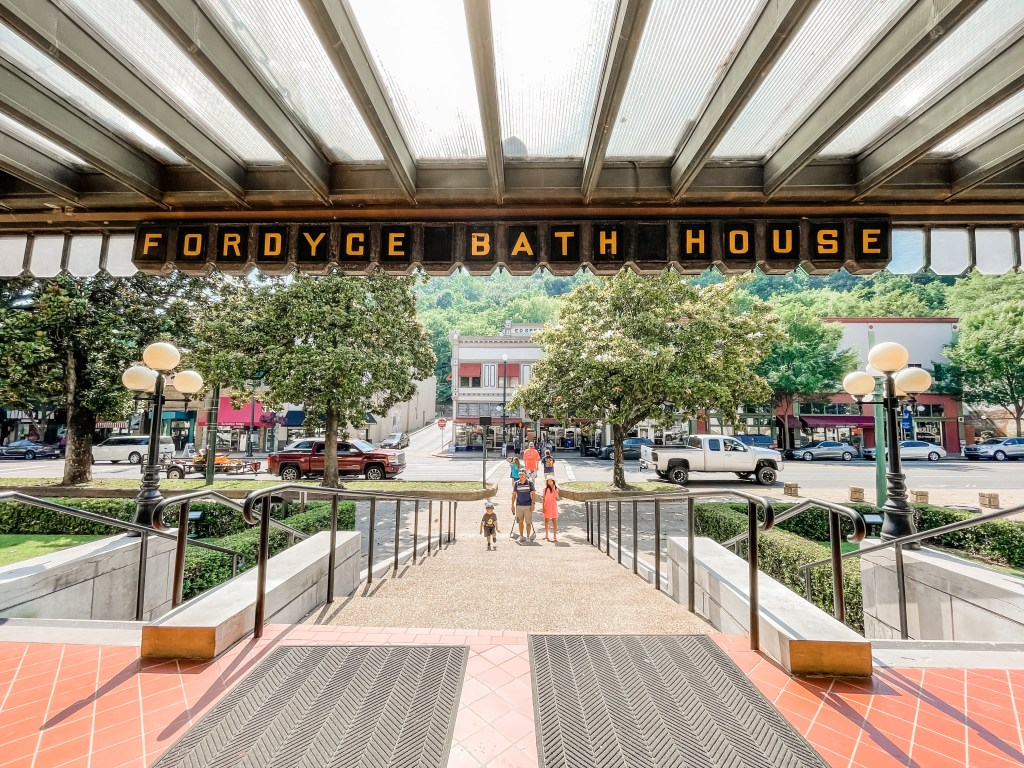 Walking out of Fordyce Bathhouse in Hot Springs Arkansas